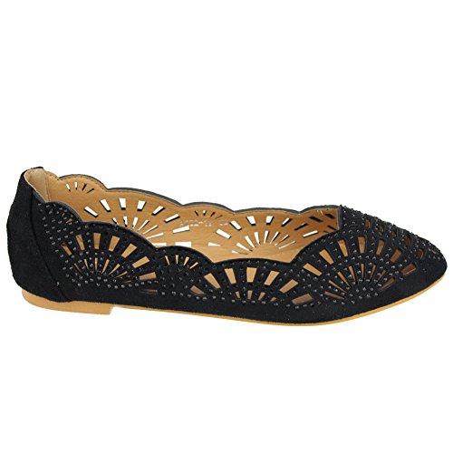 Aarz señoras de las mujeres de la tarde ocasional Comfort plana Diamante de la bomba de la bailarina tamaño de los zapatos (Negro, Marrón) Negro