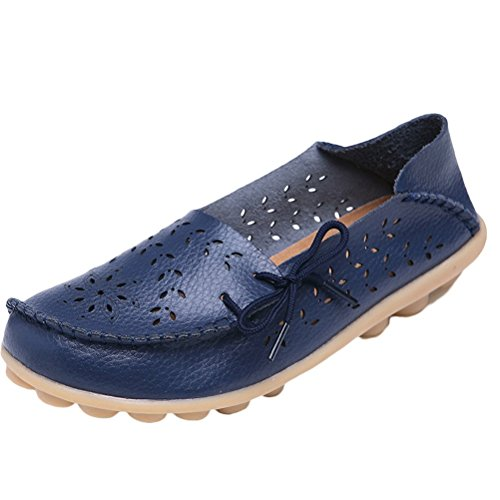 MatchLife Chaussures Style Cuir 2 Navy Femme Casual Rétro Pumpe Flach rxRwrCAvq