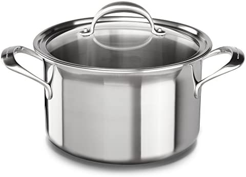 KitchenAid KC2C80SCST 5-Ply Copper Core 8 quart Stockpot with Lid – Stainless Steel, Medium, Stainless Steel Finish