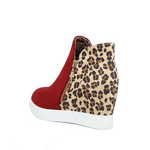 BalaMasa Ladies Color Matching Thick Bottom Heel Leopard Imitated Leather Boots Red pGdAMQcX
