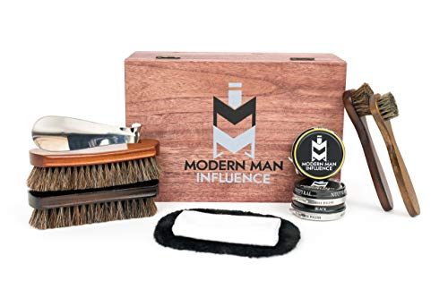 Premium Leather Care 12 Piece Shoe Polish Kit by Modern Man Influence