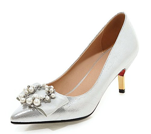 Aisun Women's Elegant Beaded Low Cut Pointed Toe Dress Slip On Heels Stiletto Kitten Heeled Pumps Party Bridal Stiletto Shoes Silver 8 B(M) US