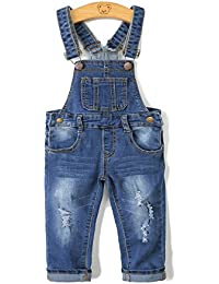 Child Ripped Holes Stretchy Stone Washed Soft Slim Jeans Overalls