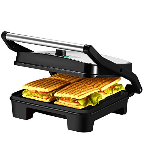 IKICH Temperature Control Panini Press, 4 Slice Sandwich Maker, Nonstick Panini Grill with 3 Year Warranty, Extra Large Plate and Removable Drip Tray, Black, Stainless Steel