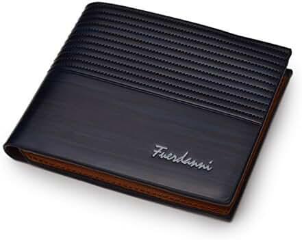 Badiya Men's PU Leather Flipout ID Wallet Bifold Hybrid RFID Blocking