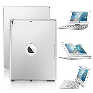 New iPad 9.7/iPad Pro 9.7/iPad Air Keyboard Case,Boriyuan 7 Color Backlit Bluetooth Keyboard Case Folio Smart 360 Rotate Stand Keyboard Cover for iPad Air/iPad Air 2,iPad Pro 9.7 and iPad 9.7(Silver)