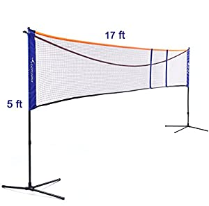 Sportneer Badminton Net, Soccer Tennis Volleyball Net Stand Set Adjustable Height(2.5-5ft) Length(10.5-17ft) for Outdoor, Backyard and Beach Games, Bonus Carry Bag by Sportneer Direct