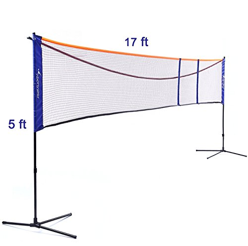- Sportneer Badminton Net, Soccer Tennis Pickle-ball Volleyball Net Stand Set | Adjustable Height (2.5-5ft) Length (10.5-17ft) | Outdoor, Backyard, Beach | with Carrying Bag
