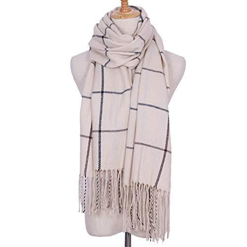200cm Amdxd Winter Scarf per Women Cashmere Change Autumn Beige Lattice nrP8gBrTqw