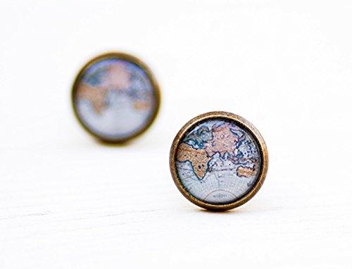 Explorer Post - Old Blue World Map Stud Earrings - Atlas Stud Earrings - Photo Post Earrings - Adventure Globe Earrings - Gift for Explorer Traveler