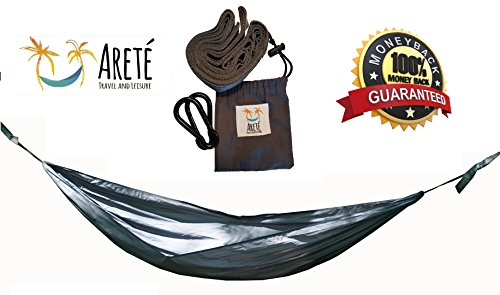 #1 Ultralight Camping Hammock + Tree Huggers Closeout by Arete Travel & Leisure - Lightweight, Relaxing, Comfortable Fun for Backpacking & Hiking. Take a Load off Today! (Grey w/ Tree - Take Today's