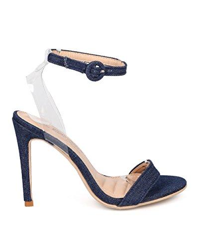 Alrisco Dames Enkelband Stiletto Sandaal - Minimalistische Naaldhak - Lucite Open Teen Sandaal - Hb20 Van Dbdk Collectie Blue Jeans Kunstleer