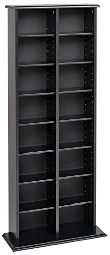 Dvd Cd Media Storage Tower - Prepac BMA-0320 Double Media (DVD,CD,Games) Storage Tower, Black