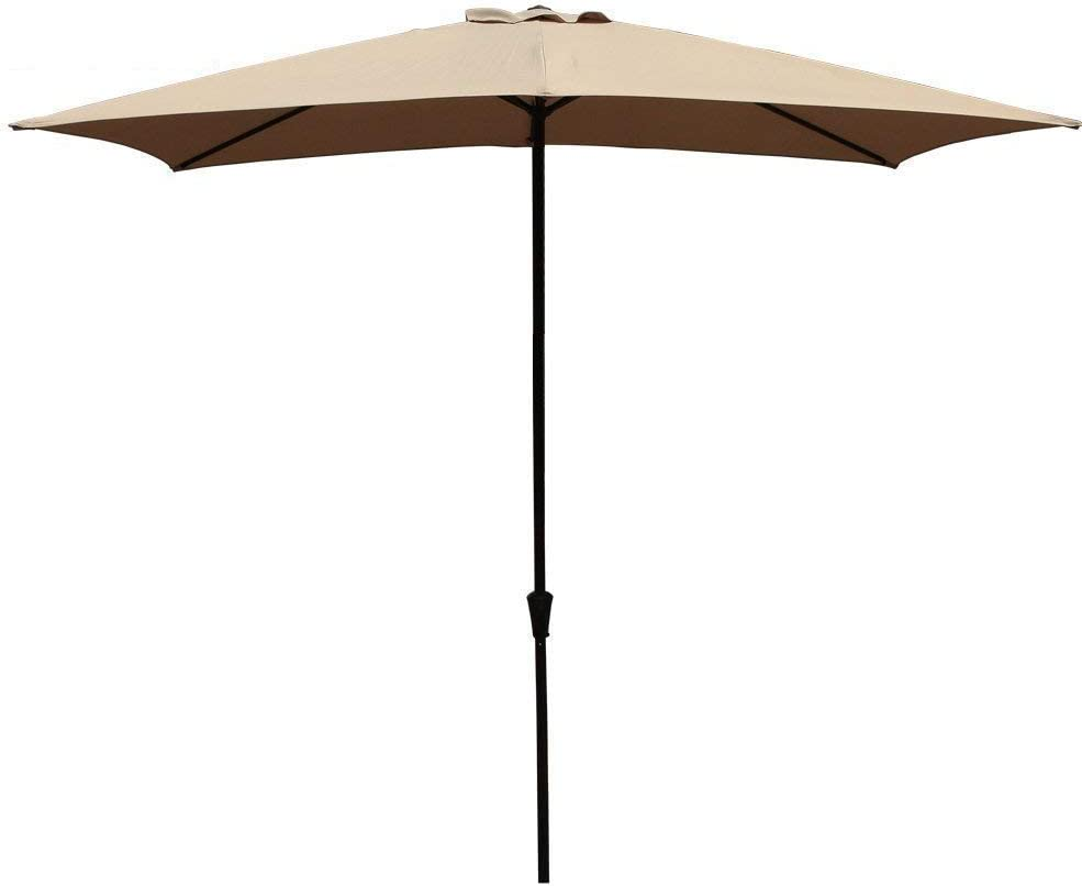 COBANA Rectangular Patio Umbrella, Outdoor Table Market Umbrella with Push Button Tilt Crank, 6.6 by9.8 , Beige