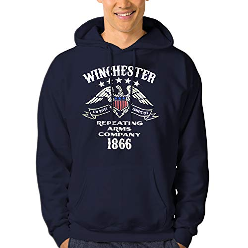 Official Licensed Winchester Eagle Repeating Arms Company Hoodie Pullover Fleece for Men Navy ()