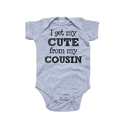 Apericots I Get My Cute From My Cousin Funny Baby Infant Unisex Bodysuit