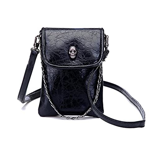 Women Girl PU Leather Skull Cellphone Pouch Mini Crossbody Shoulder Bag with Metal Chain Strap (Lg Optimus F3 Metal Case)
