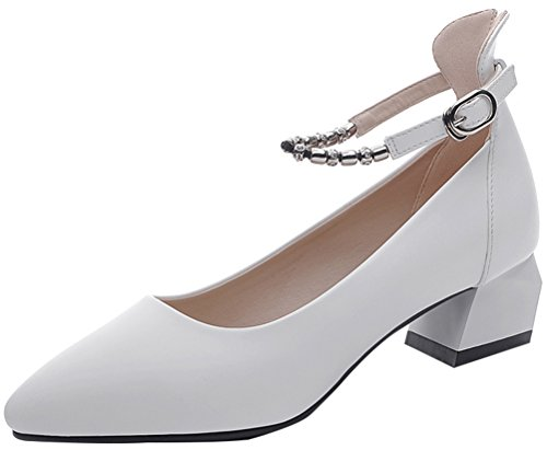 T&Mates Womens Fashion Solid Pointed Toe Bead Ankle Strap Low Chunky Heel Ankle Strap Shoes (5.5 B(M)US,White)