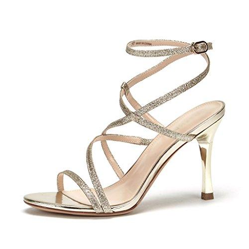 Sandals ZCJB Summer Word Band Elegant Sequins Pure Color Fine Heel Female (Color : Golden, Size : 37) Golden