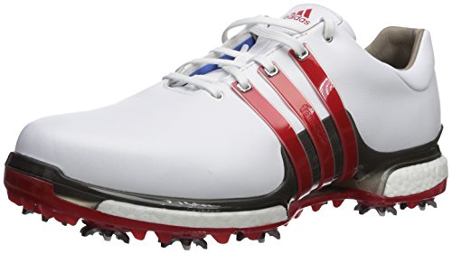 adidas Men's TOUR360  2.0 WD Golf-Shoes, Ftwr White/Scarlet/Dark Silver Metallics, 10.5 Wide US