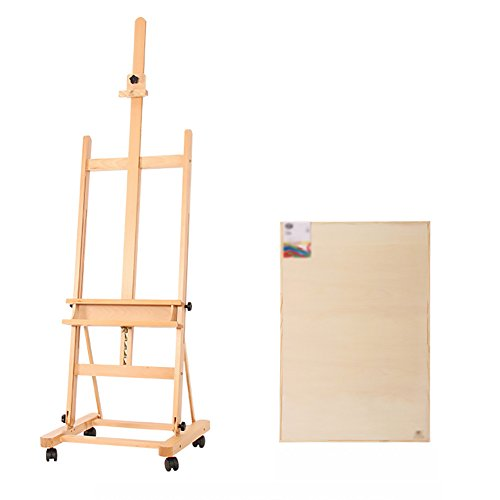 Easels Big Oil Wooden Wheeled Landing Display Stand Sketching Painting Wedding Advertising Rack with Sketchpad (Color : Style2)