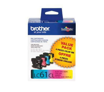 Brother LC61 Ink Cartridge (Black, Cyan, Magenta, Yellow, 4-Pack) in Retail Packaging
