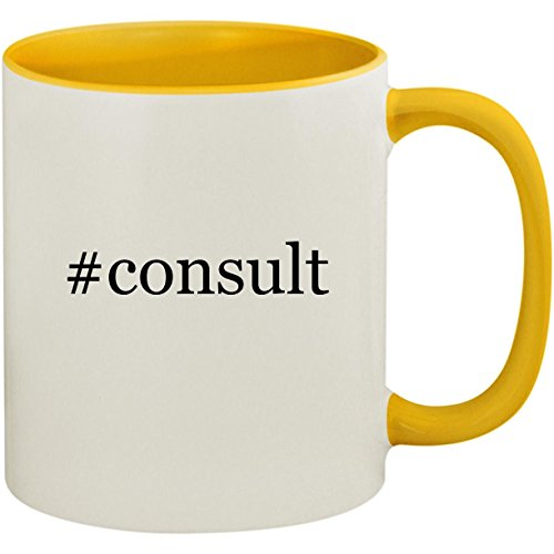 #consult - 11oz Ceramic Colored Inside and Handle Coffee Mug Cup, Yellow -
