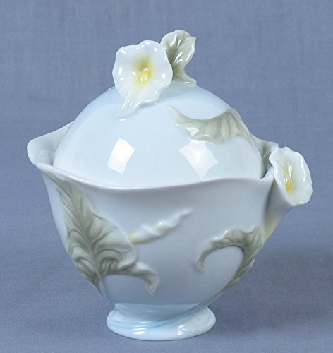 3.75 Inch Pale Blue Glazed Porcelain Sugar Bowl with Cala Lily Motif (Porcelain Lily)