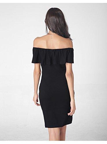 Robe Plage Femme Epaule Nu Mini Acvip Noir De Pour Mélange En Eté Coton Soirée 5qz1ZfR