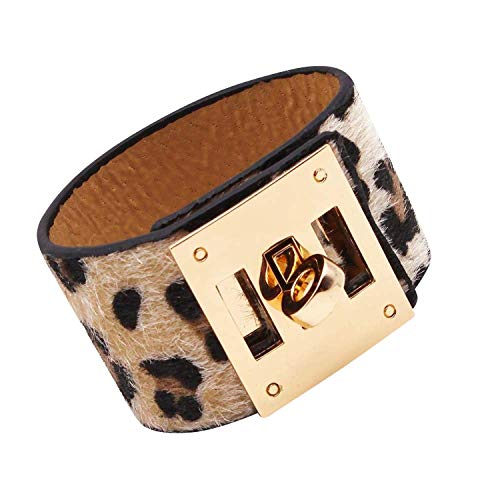 Designer Inspired Cuff Bracelet - Designer Inspired Wide Cuff Leopard Print Leather Wrap Bracelet Unisex 23cm 9 inch Length (Nude Cream)