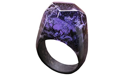 Green Wood Deep Coral wood resin ring jewelry Handmade designer wood resign rings for women with landscape (7)