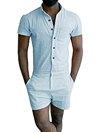 3ce4debbade Mens Romper Short Sleeve One Piece Slim Fit Jumpsuits Plain Overalls