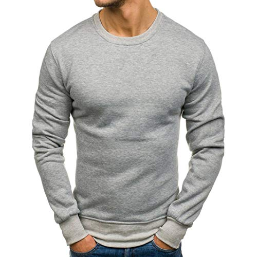 NRUTUP Fashion Clothing Shirts Solid Color Long Sleeve Casual Sweatshirt Top Blouse Sweater Tracksuits HOT!(Gray,L) (Track Cashmere Jacket)