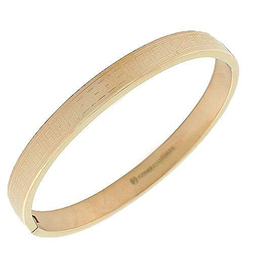 My Daily Styles Stainless Steel Rose Gold-Tone Greek Key Bangle Bracelet