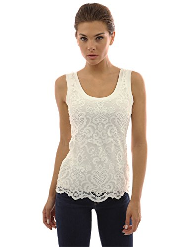PattyBoutik Women's Crochet Lace Overlay Tank Top (Off-White L)