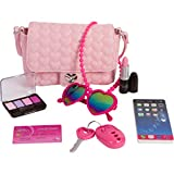 PixieCrush Pretend Play Kid Purse Set for Girls with Handbag, Pretend Smart Phone, Keys with Remote, Pretend Makeup, Lipstick – Interactive & Educational Toy (Pink Hearts, Standard)