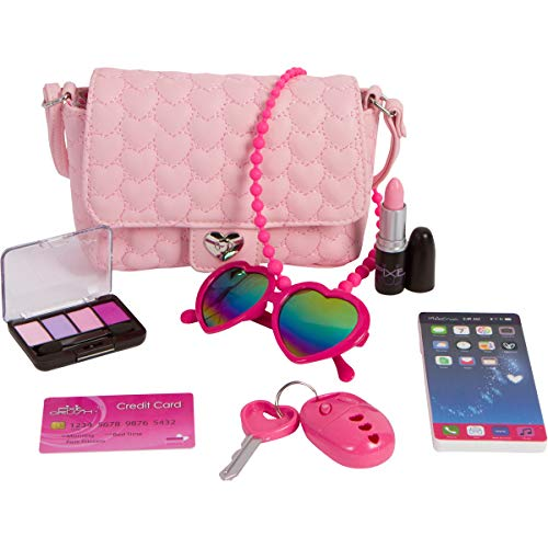 Pixie Girl Presents (PixieCrush Pretend Play Purse & Makeup for Girls - Fun Little Girl Cosmetics Toys Set with Pretend Makeup, Eyeshadow, Cell Phone, Kids Lipstick, Sunglasses &)