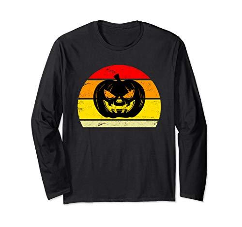 Creepy Horror Halloween Pumpkin Sunset Silhouette   Long Sleeve T-Shirt]()