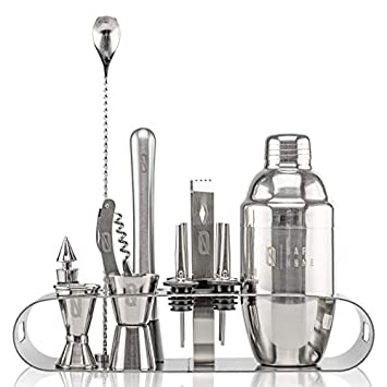 BAR NONE The Cocktail Set 12-Piece Stand Bar Set Exquisite Quality Bartender Kit Tools Martini Shaker, Jigger, Shots, Muddler, Spoon, Ice Tongs, Corkscrew Knife Bottle Opener Liquor Pourer