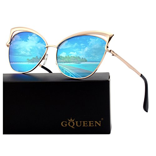GQUEEN Women's Oversized Polarized Metal Frame Mirrored Cat Eye Sunglasses MT3 by GQUEEN