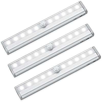 AMIR 10 LED Motion Sensing Closet Lights, 3 Pack DIY Stick-on Anywhere Portable 10-LED Wireless Cabinet Night/ Stairs/ Step Light Bar with Magnetic Strip (Battery Operated)