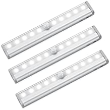 AMIR Closet Light, 10 LED Cabinet Light,Motion Sensor Light with 3 Pack DIY Stick-on Anywhere,Portable Night/ Stairs/ Step Light Bar with Magnetic Strip (Battery Operated)