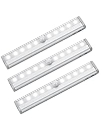 Amir 10 LED Motion Sensing Closet Lights, 3 Pack DIY Stick-on Anywhere Portable 10-LED Wireless Cabinet Night/ Stairs/ Step Light Bar with Magnetic Strip (Battery Operated) BOBEBE Online Baby Store From New York to Miami and Los Angeles