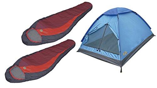 High Peak USA Alpinizmo 1 Monodome Combo Set (3 Tent + 2 Redwood/5 Sleeping Bags), Red/Blue, Regular