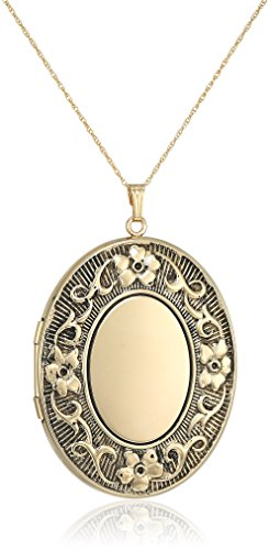 14k Gold-Filled Extra-Large Embossed with Antique Finish Oval Locket Necklace, (Embossed Oval Locket)