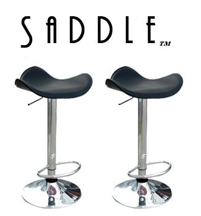 (Saddle Black PU Modern Bar Stools - Set of 2)