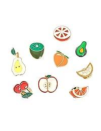 Cute Cartoon Fruit Brooch Pins Set,Apple Pear Cherry Orange Lemon Enamel Lapel Pin Cartoon Badges 9 Pieces for Teen Children Girl Clothes Backpacks Decor Birthday Gift
