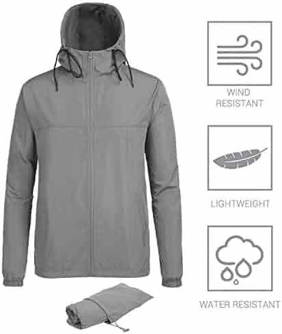 ac5b16f2f FISOUL Men's Raincoats Lightweight Windbreaker Rain Jacket Active Outdoor  Hooded Waterproof Trench Coats