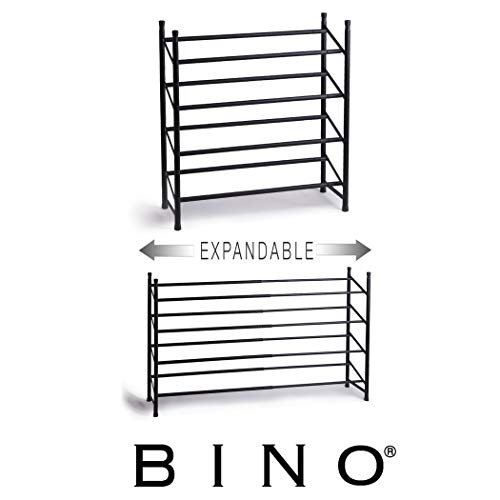 BINO Stackable 4 Tier Expandable Shoe Rack – 12-24 Pair Shoe Shelf Tower Storage Organizer, Black - Shoe Stackable Expandable Rack