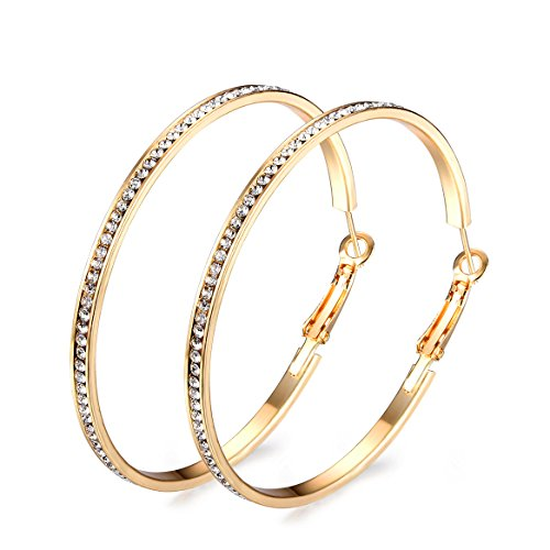 Junxin Eternity Rhinestone stainless steel Hoop Earrings Gold Plated silver Plated,Gift For Women And Girls - Gold Eternity Earrings